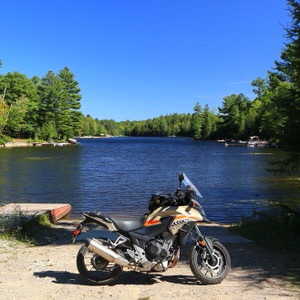 CB500X in front of lake